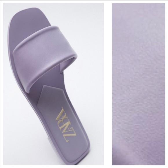 NWT. Zara Flat Leather Sandals. Size 7.5.